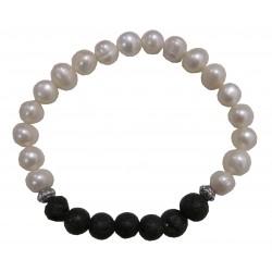 Bracelet perles de culture et lave du volcan