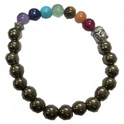 Bracelet Pyrite Chakras tète de Bouddha