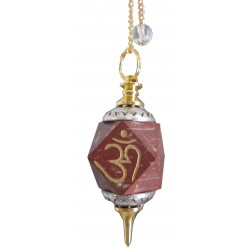 "Pendule octogonal jaspe rouge""OM"""