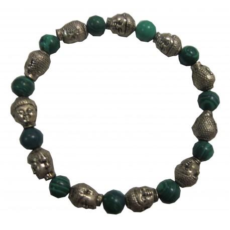 Bracelet Bouddhas pierre malachite