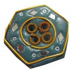 Porte encens hexagonal vert olive