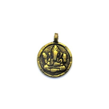 Pendent rond métal doré Ganesh