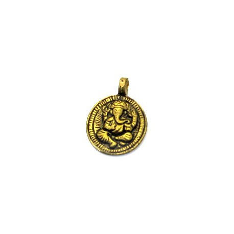 Pendentif rond doré Ganesh